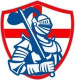 Bandera inglesa del escudo de Hold Sword England del caballero retra Foto de archivo libre de regalías