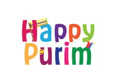 Bandera inglesa del saludo del día de fiesta judío feliz de Purim Foto de archivo libre de regalías