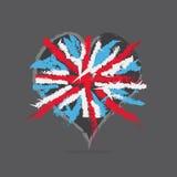 Bandera inglesa en corazón Imagen de archivo libre de regalías