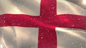 Bandera inglesa que agita bajo nevadas almacen de metraje de vídeo