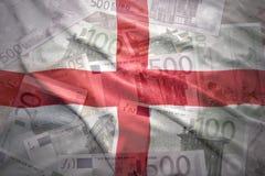 Bandera inglesa que agita colorida en un fondo euro Imagen de archivo