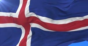Bandera islandesa que agita en el viento con el cielo azul en lento, lazo ilustración del vector