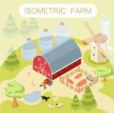 Bandera isométrica de la granja Imagen de archivo