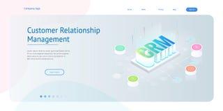 Bandera isométrica de la web de CRM Concepto de la gestión de la relación del cliente Ejemplo del vector de la tecnología de Inte libre illustration