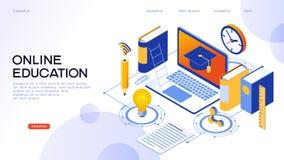 Bandera isométrica del concepto de la educación en línea ilustración del vector