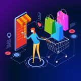 Bandera isométrica del concepto de las compras en línea stock de ilustración