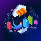 Bandera isométrica del concepto de las compras en línea libre illustration