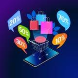 Bandera isométrica del concepto de las compras en línea ilustración del vector
