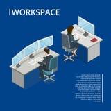 Bandera isométrica del espacio de trabajo 3d de la oficina stock de ilustración