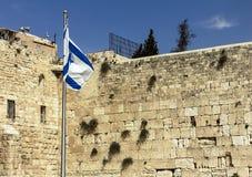 Bandera israelí en la pared occidental, Jerusalén Imagen de archivo