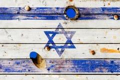 Bandera israelí pintada en viejos tableros resistidos Fotografía de archivo libre de regalías