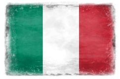 Bandera italiana destruida 1 foto de archivo