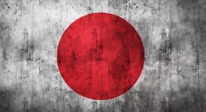 Bandera japonesa arrugada Grunge representación 3d Fotos de archivo