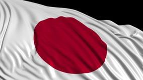 Bandera japonesa en la cámara lenta La bandera se convierte suavemente en el viento stock de ilustración
