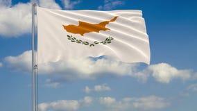 Bandera la República de Chipre contra el fondo del cielo ilustración del vector