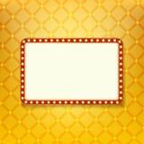 Bandera ligera brillante marco de oro retro con las luces de neón Foto de archivo libre de regalías