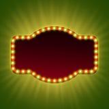 Bandera ligera retra en blanco 3d con los bulbos brillantes Imagen de archivo libre de regalías