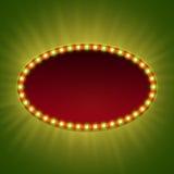 Bandera ligera retra en blanco 3d con los bulbos brillantes Foto de archivo libre de regalías