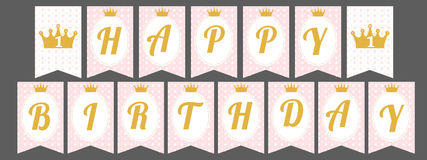 Bandera linda del banderín como banderas con feliz cumpleaños de las letras en estilo de la princesa Fotos de archivo