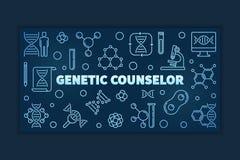 Bandera linear azul o ejemplo del vector genético del consejero libre illustration
