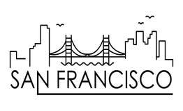 Bandera linear de la ciudad de San Francisco Todos los edificios de San Francisco - los objetos adaptables con la máscara de la o ilustración del vector