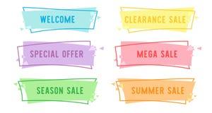Bandera linear plana de la venta de la oferta especial para su diseño de la promoción foto de archivo libre de regalías