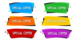 Bandera linear plana de la venta de la oferta especial para su diseño de la promoción foto de archivo