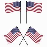 Bandera los E.E.U.U. de las banderas americanas de los E.E.U.U. de la bandera que agita vector determinado Imagenes de archivo