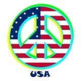 Bandera los E.E.U.U. como muestra del pacifismo ilustración del vector