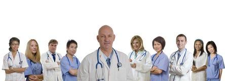 Bandera médica del personal hospitalario diverso Imágenes de archivo libres de regalías
