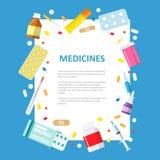 Bandera médica o farmacéutica en un estilo plano Imagenes de archivo