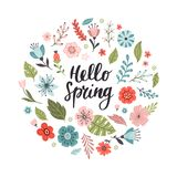 Bandera a mano soleada con las flores y mandar un SMS hola a la primavera stock de ilustración