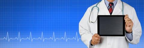 Bandera médica con el doctor Foto de archivo