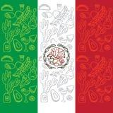 Bandera mexicana con los elementos tradicionales de la cultura Imagen de archivo libre de regalías