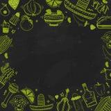 Bandera mexicana de la comida Vector el ejemplo del vintage para el menú, cartel en fondo oscuro con el texto del lugar Fotos de archivo