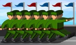 Bandera militar del concepto del desfile, estilo de la historieta ilustración del vector