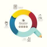 Bandera moderna de las opciones de la flecha del lápiz del diseño del infographics Vector ilustración del vector