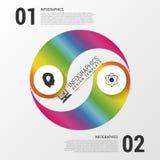 Bandera moderna de las opciones del estilo de yang del yin de la esfera económica con los iconos Ilustración del vector Imágenes de archivo libres de regalías