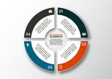 Bandera moderna de las opciones del negocio, infographics del círculo, opción 4 EPS Fotos de archivo