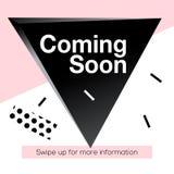 Bandera moderna del web del cuadrado de la promoción que viene pronto, para los medios apps móviles sociales Bandera elegante del Foto de archivo