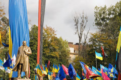 Bandera  monument unveiling. Stepan Bandera (fighter for Ukraine independence) monument unveiling in Lviv-City - 13.10.2007y Royalty Free Stock Photography