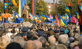 Bandera  monument unveiling. Stepan Bandera (fighter for Ukraine independence) monument unveiling in Lviv-City - 13.10.2007y Royalty Free Stock Images