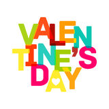 Bandera multicolora del día de tarjeta del día de San Valentín. Texto brillante Imagenes de archivo