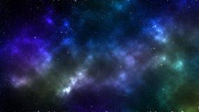Bandera multicolora oscura del espacio exterior que muestra la formación y los planetas de la nube libre illustration