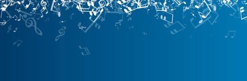 Bandera musical azul con las notas stock de ilustración