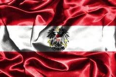 Bandera nacional austríaca con el escudo de armas Imagen de archivo