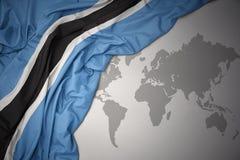 Bandera nacional colorida que agita de Botswana stock de ilustración
