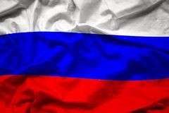 Bandera nacional colorida que agita de Rusia, Federación Rusa Foto de archivo libre de regalías