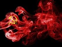 Bandera nacional comunista del humo fotografía de archivo