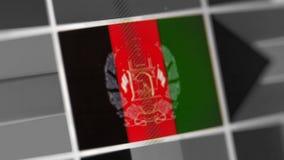 Bandera nacional de Afganistán del país bandera en la exhibición, un efecto de moaré digital imágenes de archivo libres de regalías